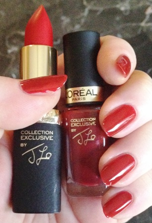 JLo's Pure Red Lipstick and Nail Polish Swatch