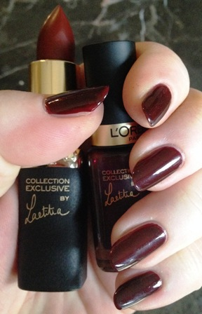 Laetitia's Pure Red Lipstick and Nail Polish Swatch