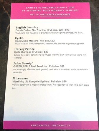 Birchbox October 2015 Insert Card